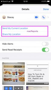 Share or send location in the Messages app