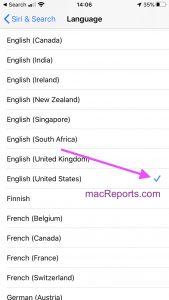 Siri Language Setting