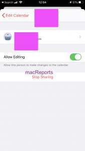 Stop sharing on iPhone, iPad