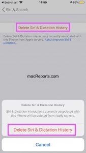 Delete Siri History