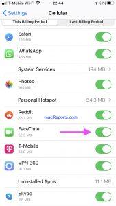 FaceTime Cellular Data