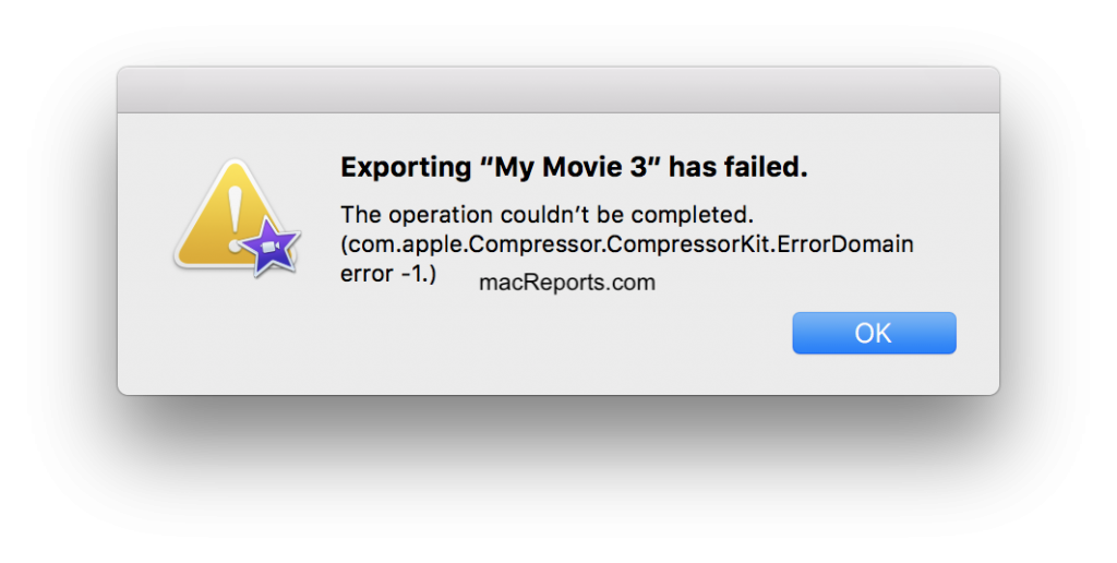 "Exporting ""macreports"" has failed. The operation couldn't be completed."