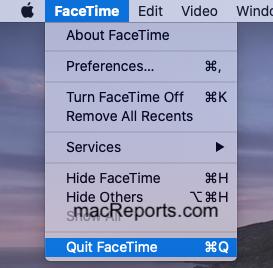 Quit FaceTime