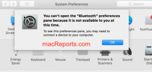 You can't open the Bluetooth preferences error