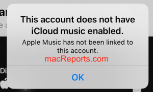 This account does not have Icloud Music Library enabled