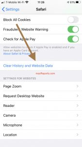 Clear History and Website Data
