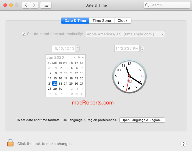 Date and Time on Mac