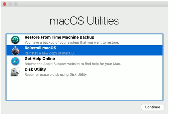 macOS Recovery Utilities window