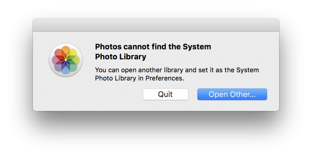 Photos Cannot Find The System Photo Library