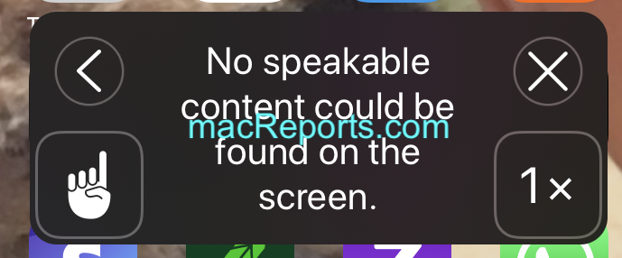 Speak Screen Error Message