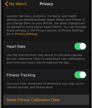 Calibrating your Apple Watch