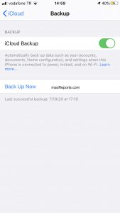 iCloud Back Up Now