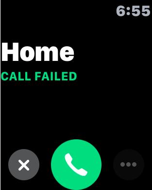 Apple Watch Call Failed Screen
