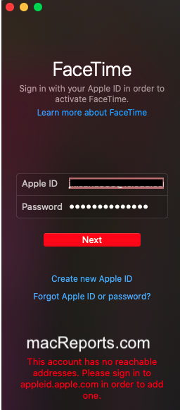 FaceTime account has not reachable address error