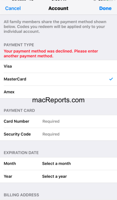 Your payment method declined error message