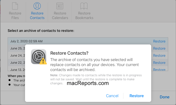 Restore iCloud Contacts