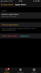 Unpair Apple Watch