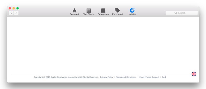Blank App Store on Mac