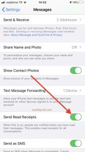 Send read Receipts iPhone and iPad