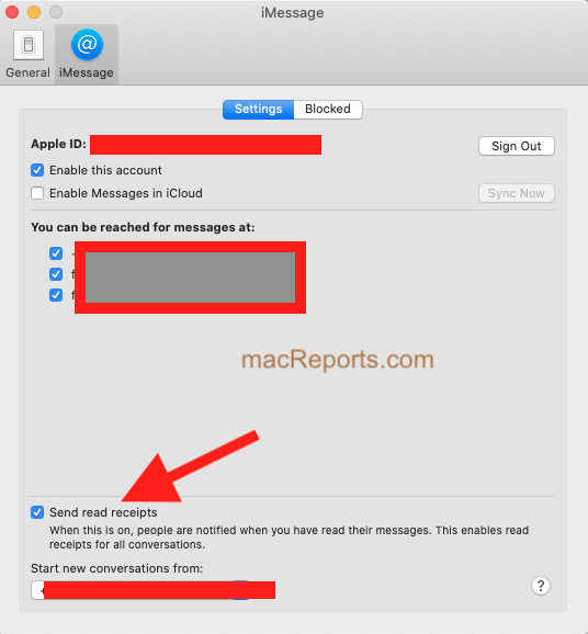 Read Receipts on Mac