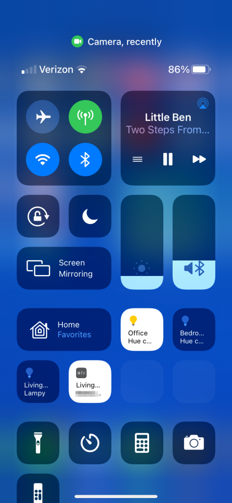 control center shows recent camera access by Camera