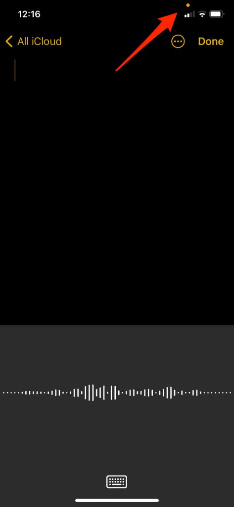 orange dot in status bar