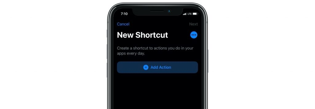 add action to shortcut