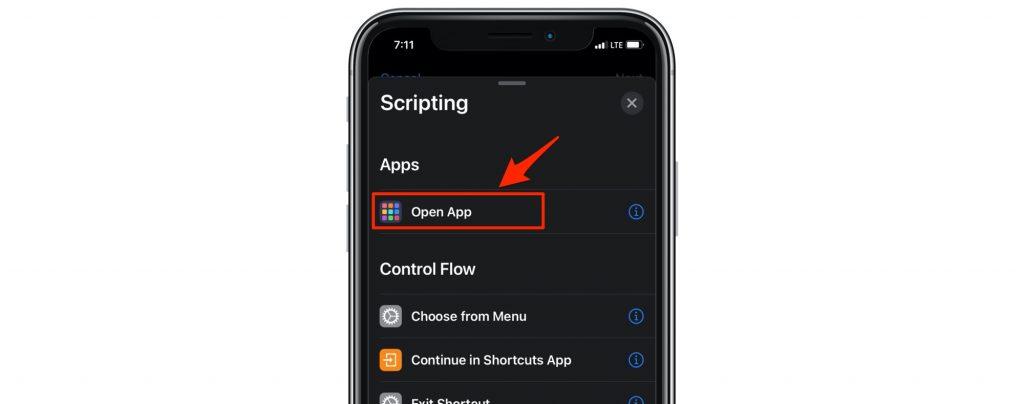choose open app