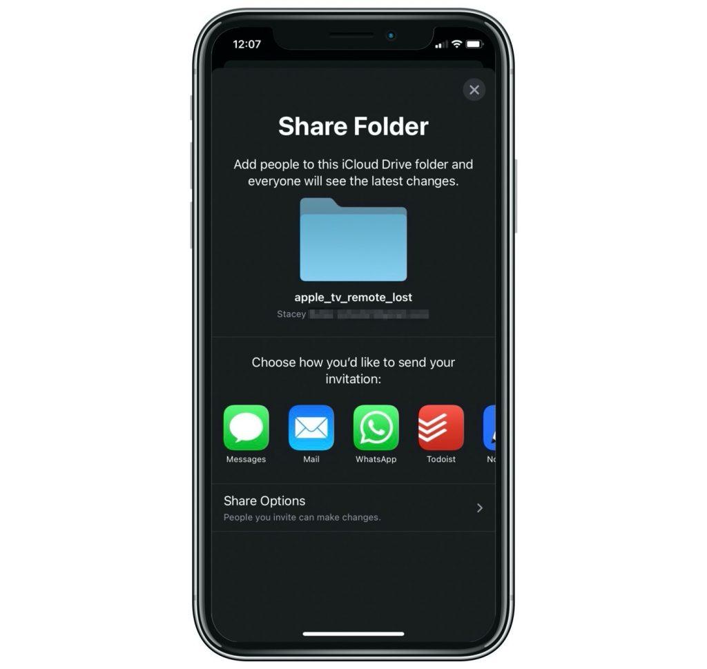 share folder invite menu