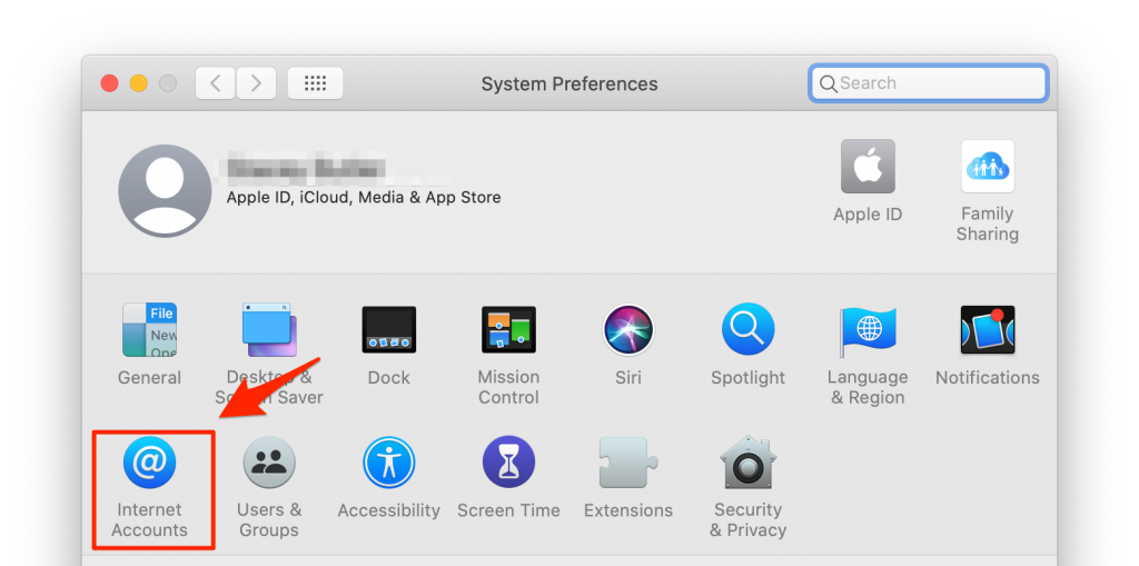 system preferences internet accounts