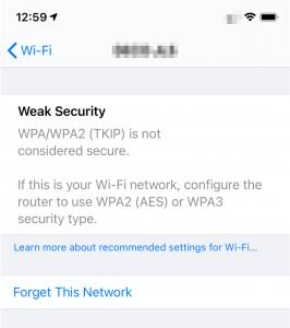 weak security message