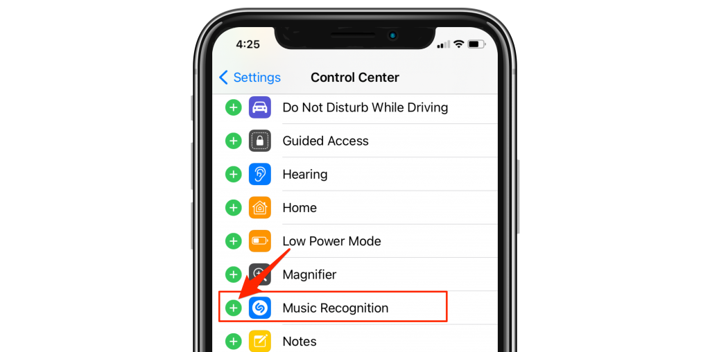 add music recognition to control center
