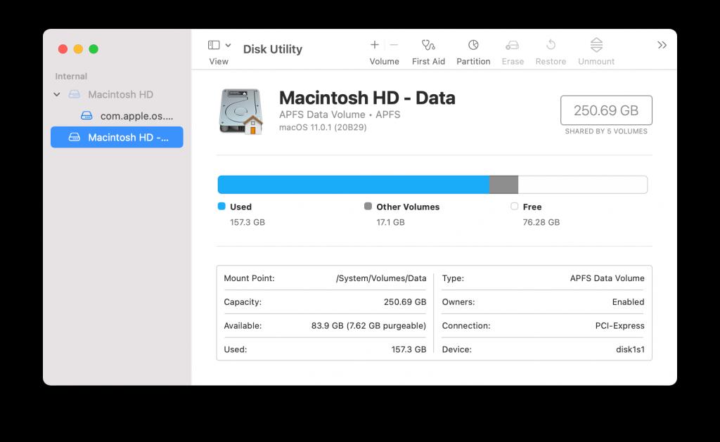 disk utility window