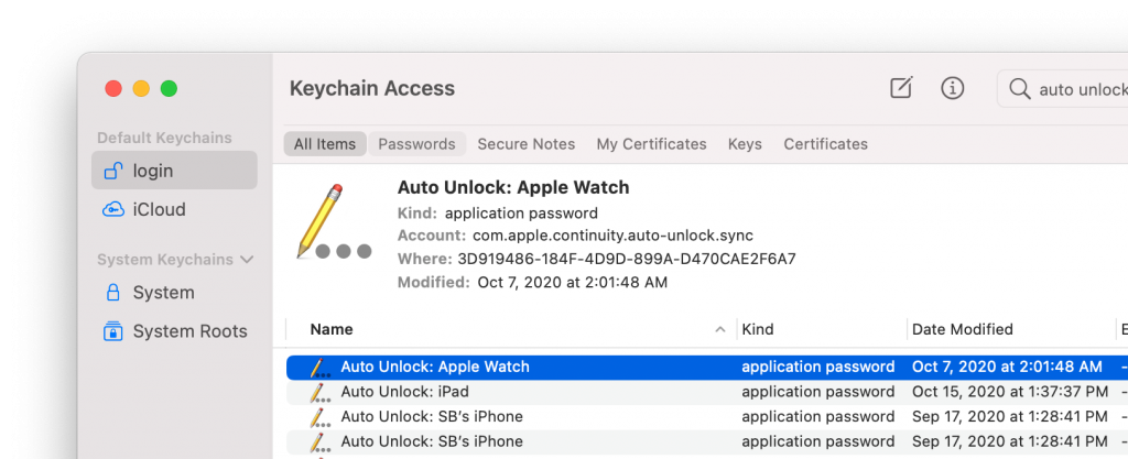 Auto Unlock entries in keychain