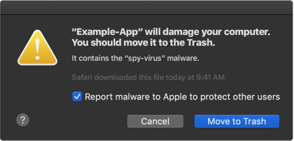 general Mac popup warning