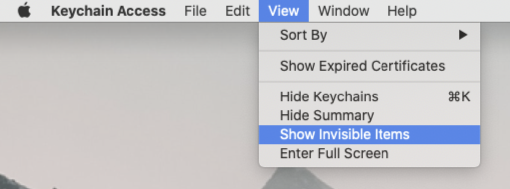 Keychain Show Invisible Items