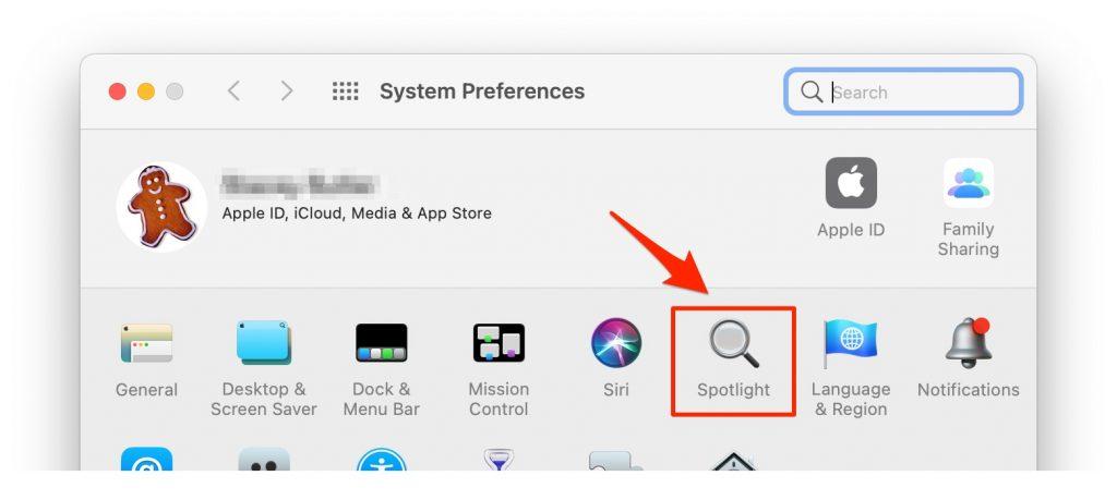 spotlight in system preferences