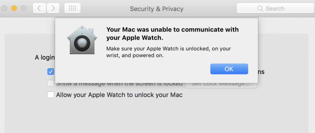 Your Mac was unable to communicate with your Apple Watch error message