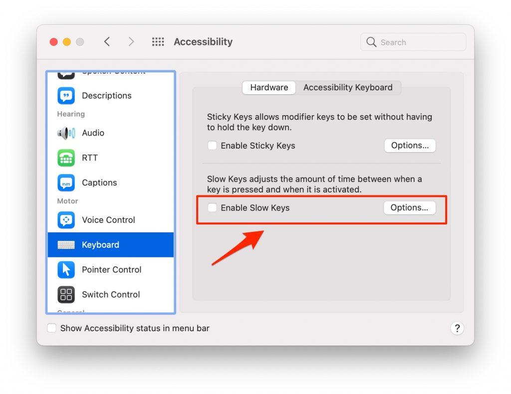 keyboard accessibility menu
