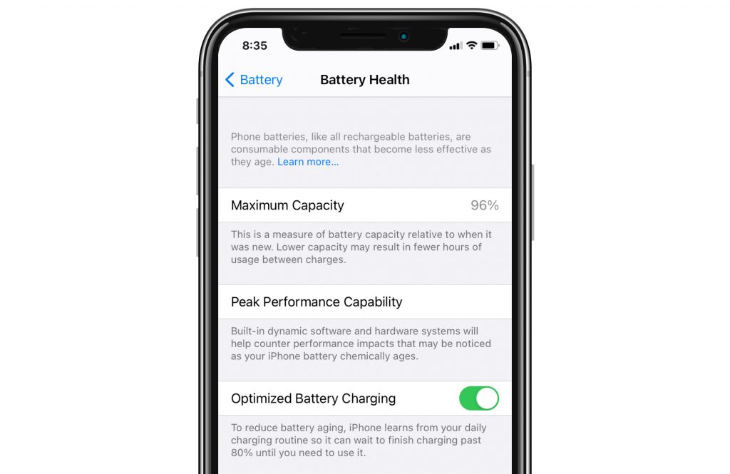 battery health menu