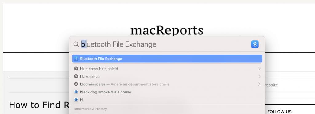 Spotlight > Bluetooth File Exchange
