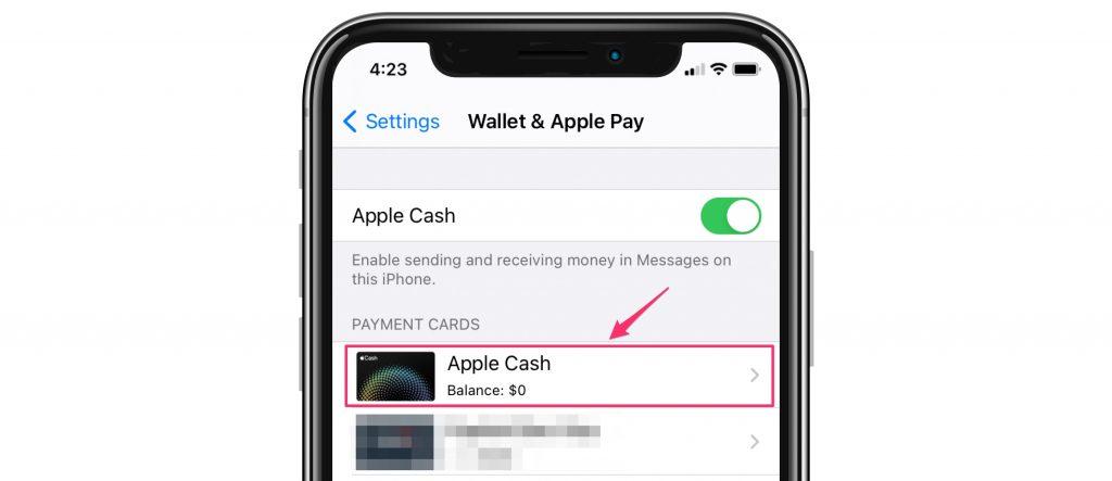 settings Apple Cash