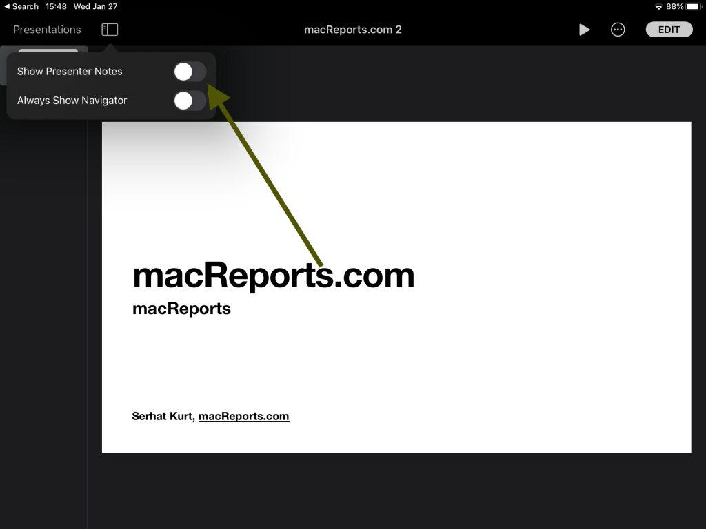 Show Presenter Notes on iPad