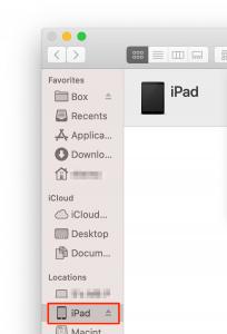 iPad in Finder window