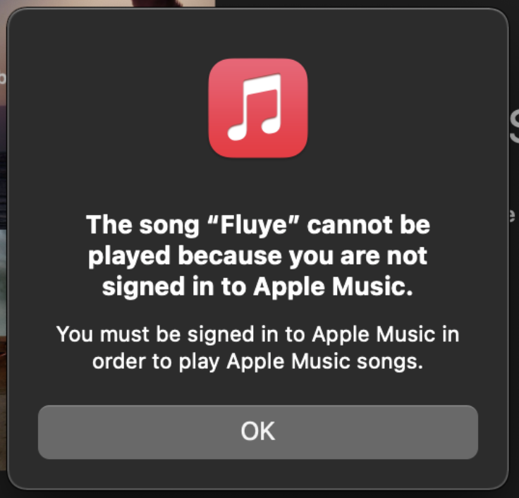 The song cannot be played error message screen