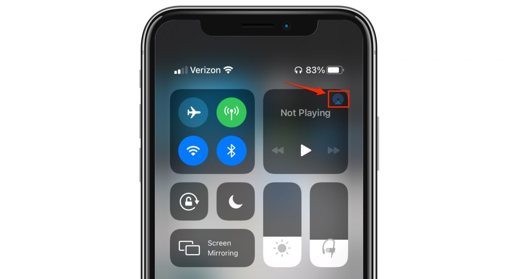 control center airplay icon