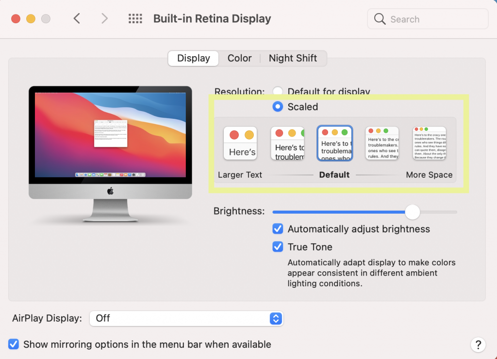 Mac Display Setting