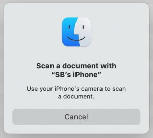 scan with iPhone pop-up