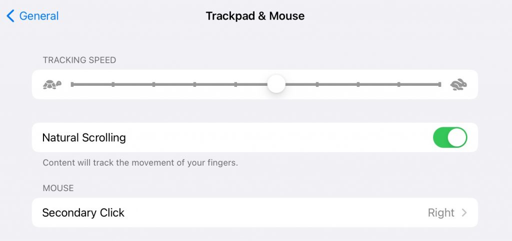 trackpad and mouse menu