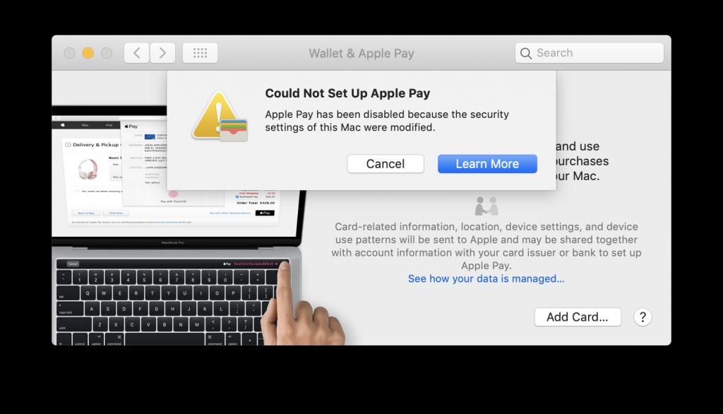 Apple Pay error message